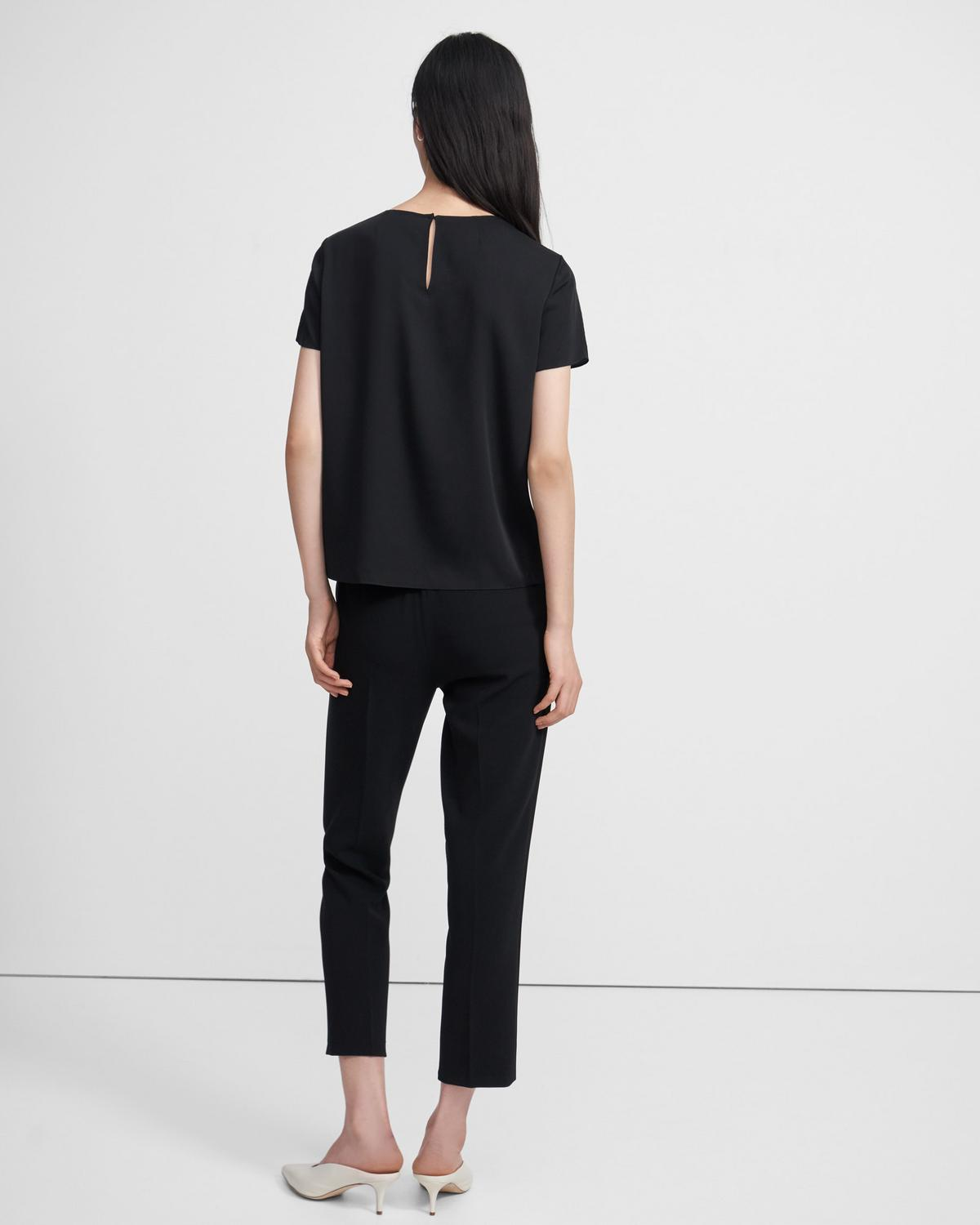 Woven Tee in Stretch Silk