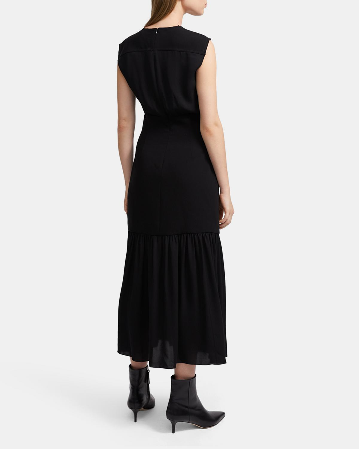 Blouson Maxi Dress in Silk