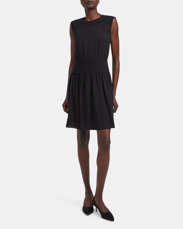 띠어리 실크 블루종 원피스 Theory Silk Blouson Dress,BLACK