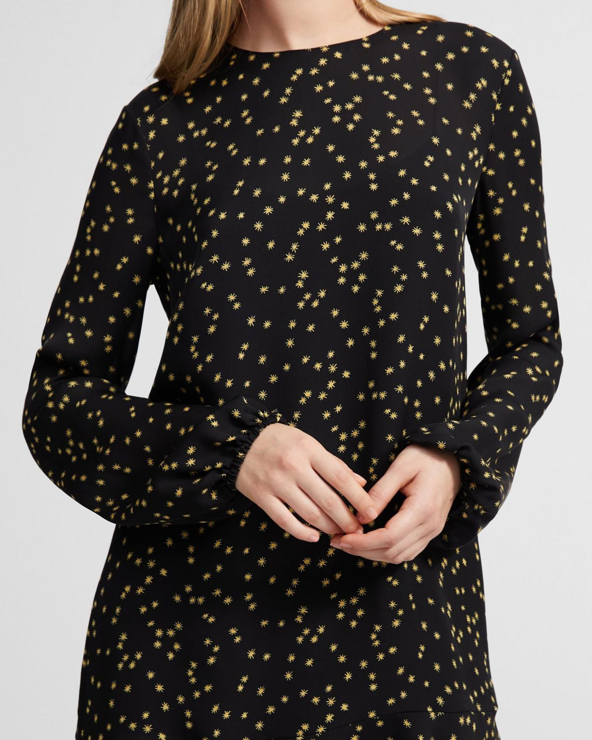 Silk Star Print Flared Dress