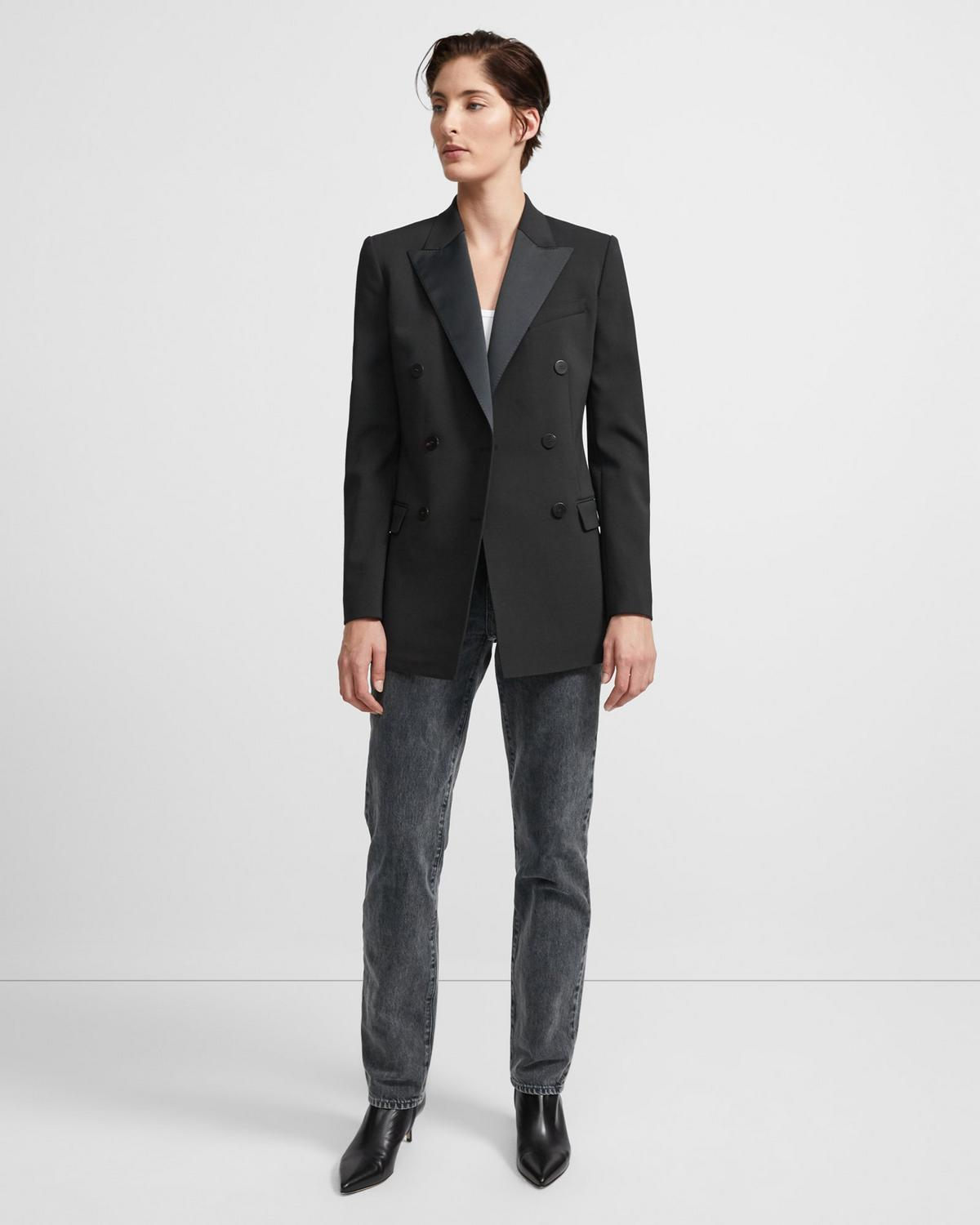 Double-Breasted Tuxedo Blazer in Stretch Wool