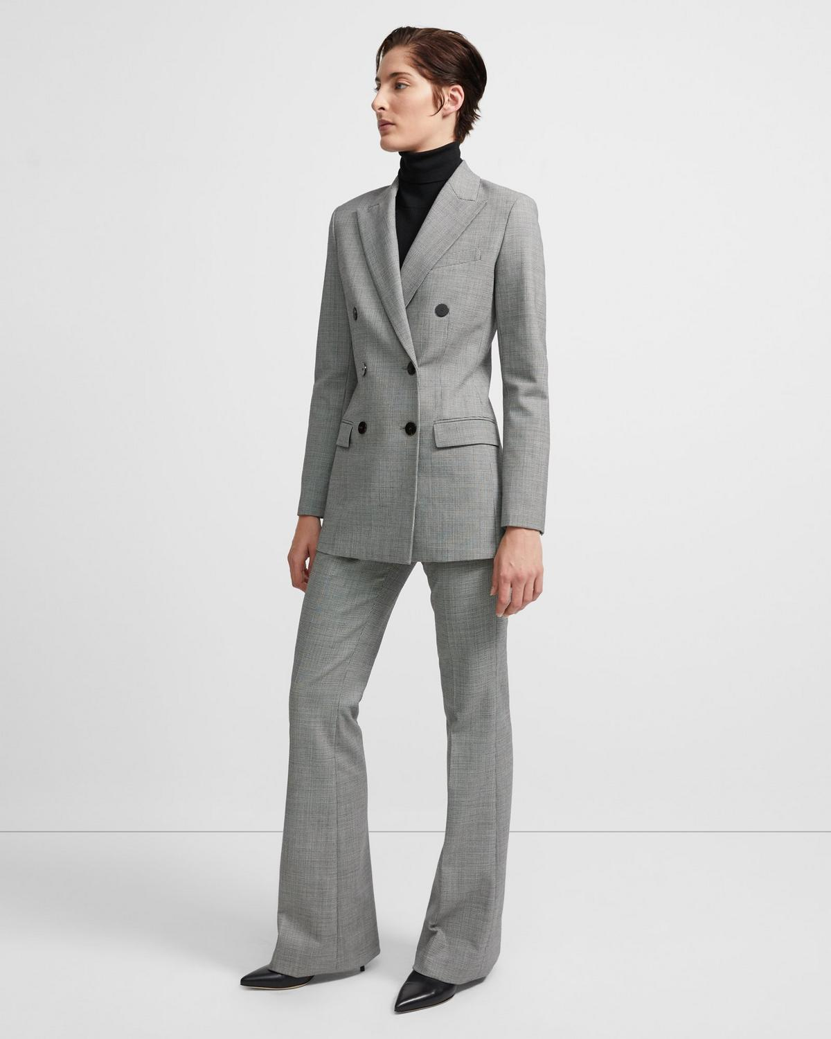 Double-Breasted Blazer in Stretch Houndstooth