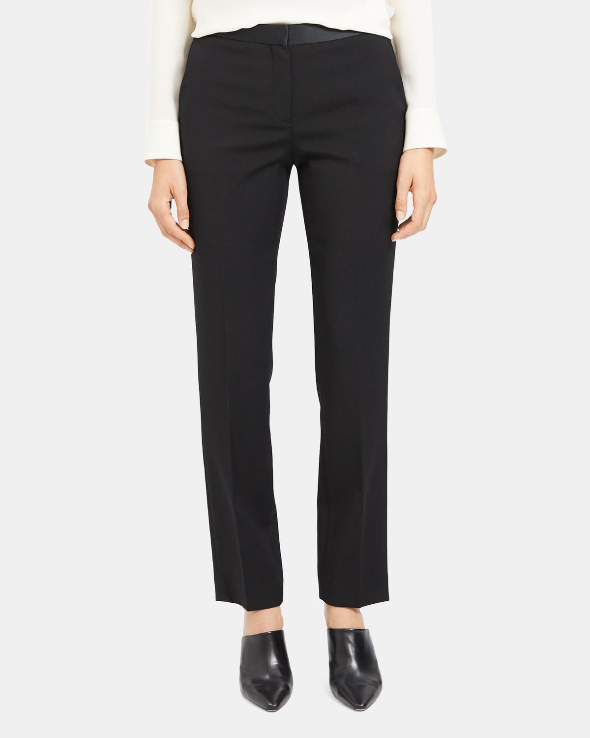 Treeca Full Length Tuxedo Pant in Stretch Wool