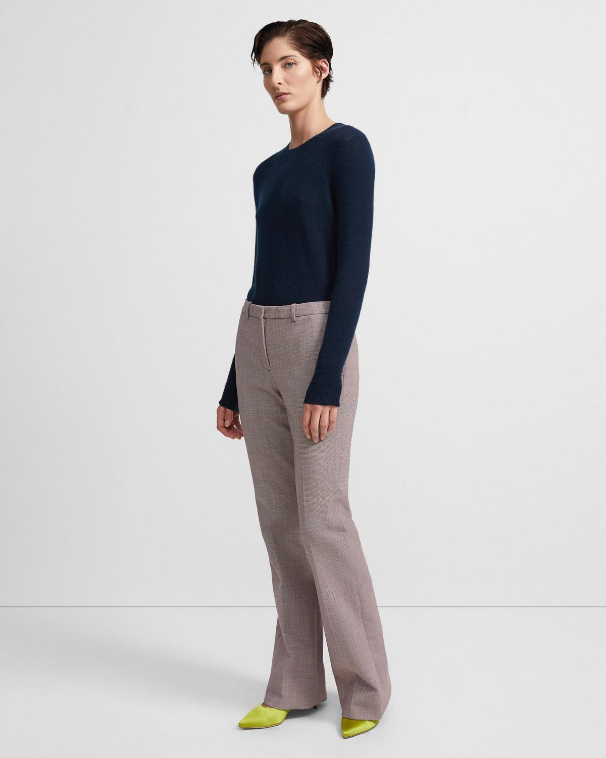 Stretch Poly Blend Houndstooth Flare Pant