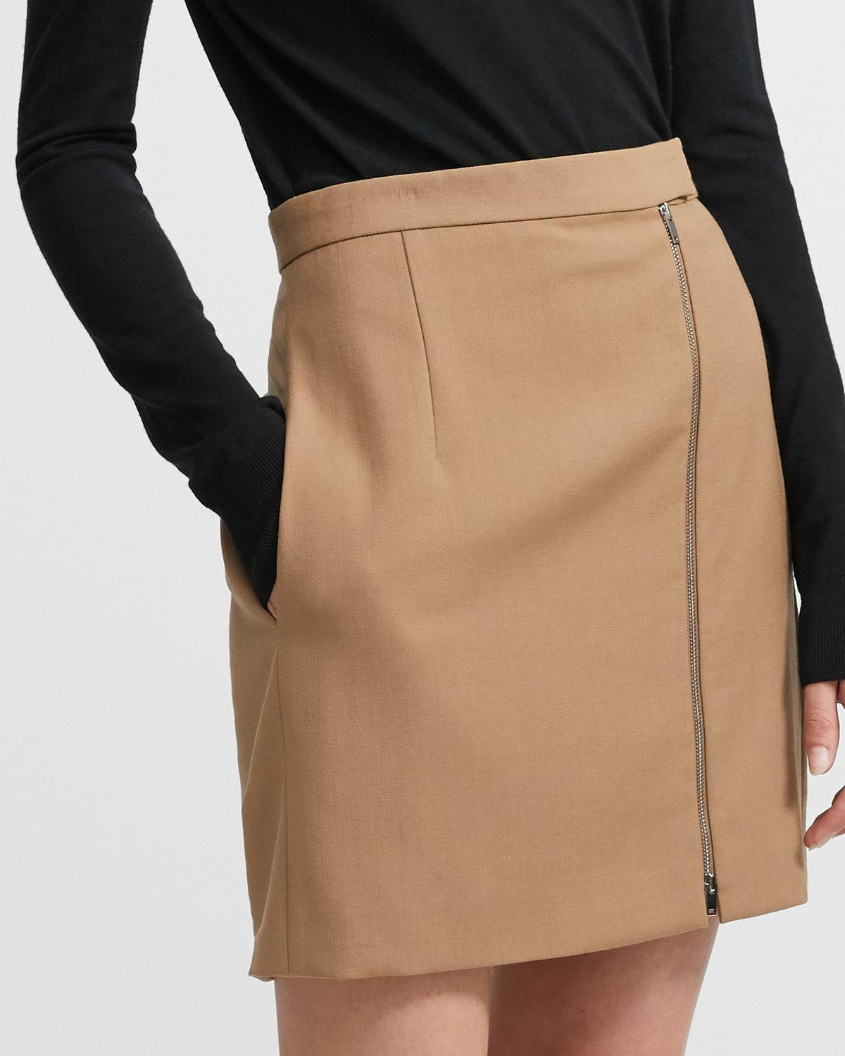 Zip Mini Skirt in Stretch Wool