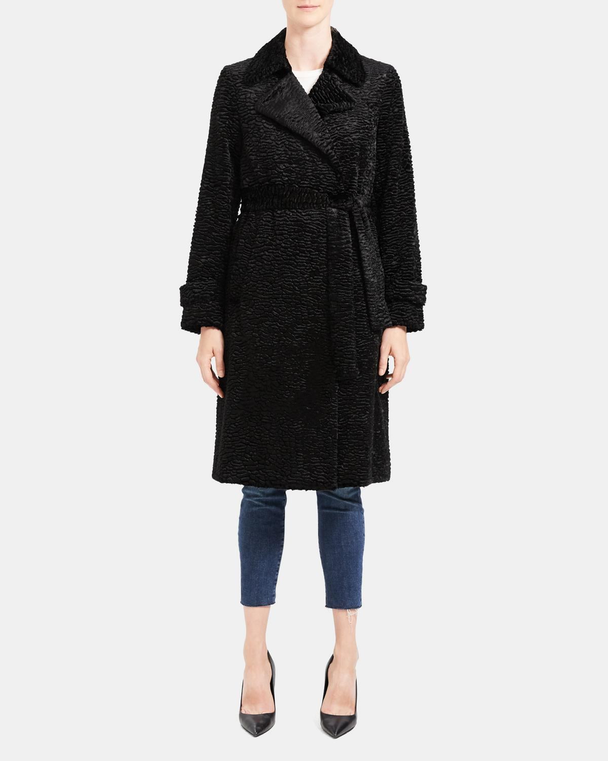 Faux Astrakhan Trench Coat