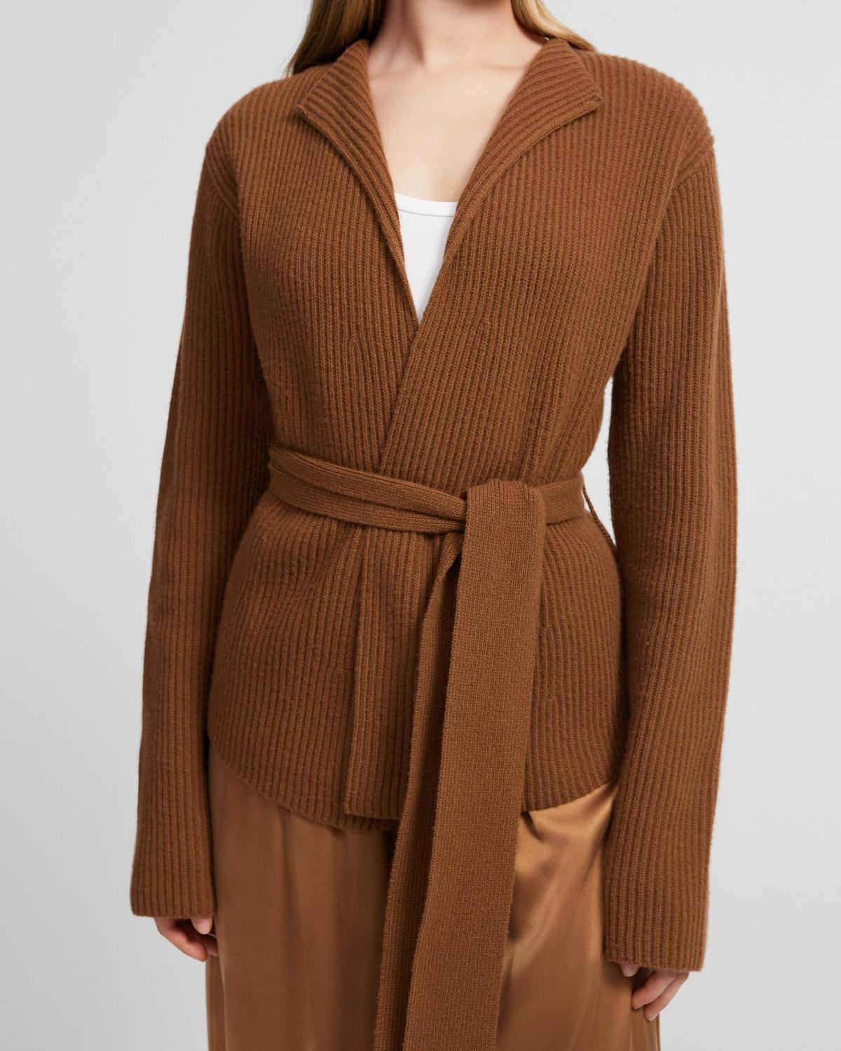 Belted Sweater Jacket in Felted Wool-Cashmere
