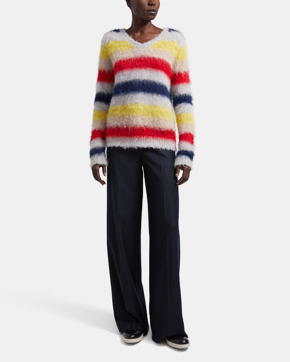 V-Neck Sweater in Striped Alpaca Wool