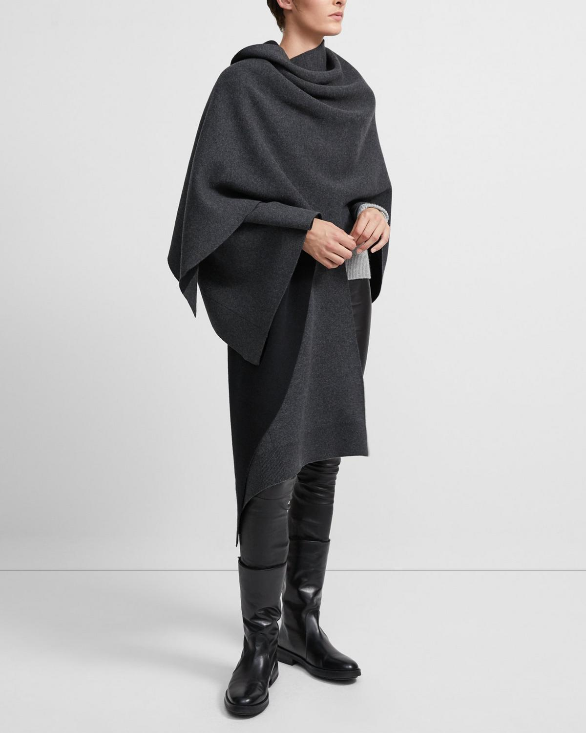 Poncho in Felted Wool-Cashmere 0 - click to view larger image