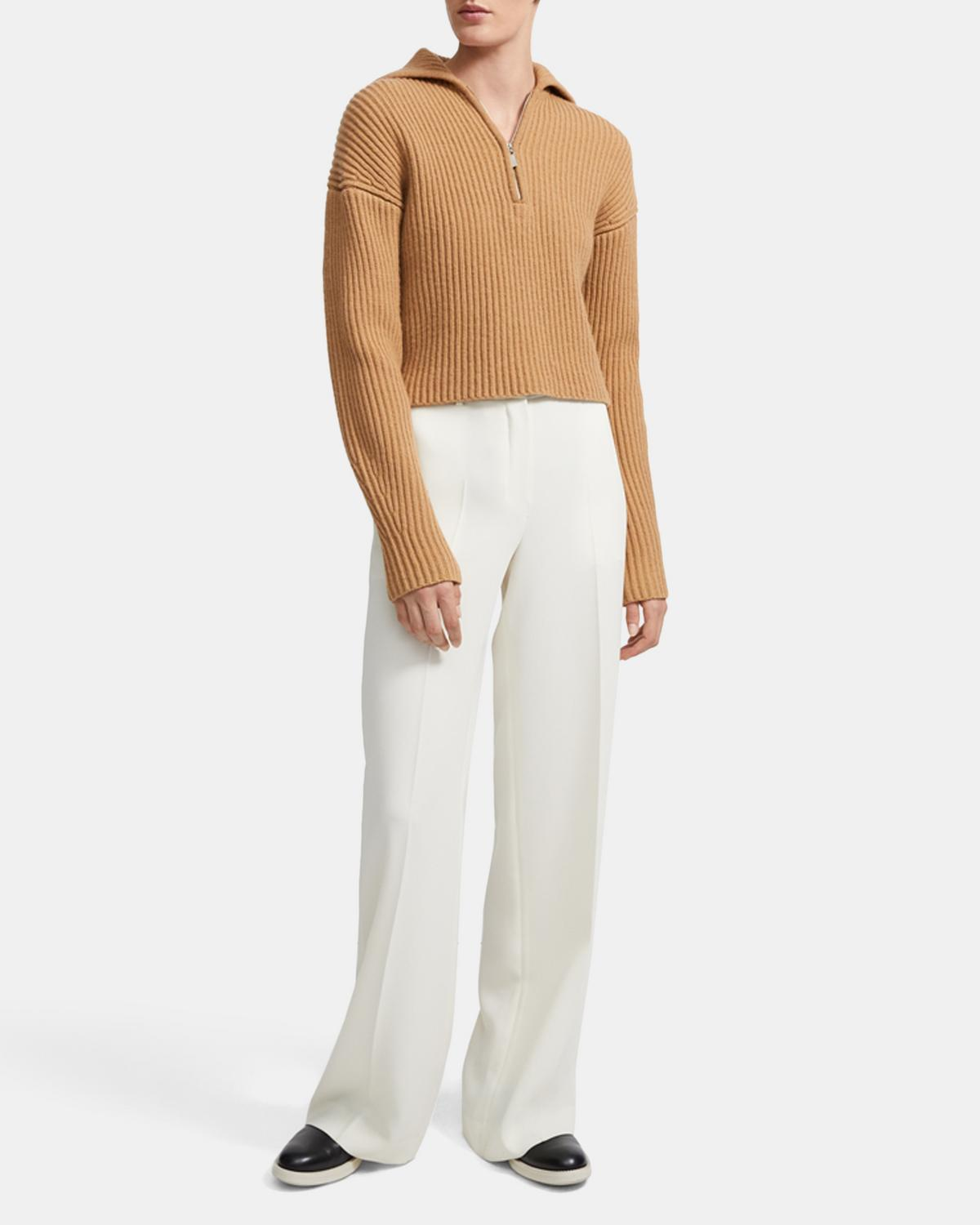 Half Zip Sweater in Ribbed Merino Wool