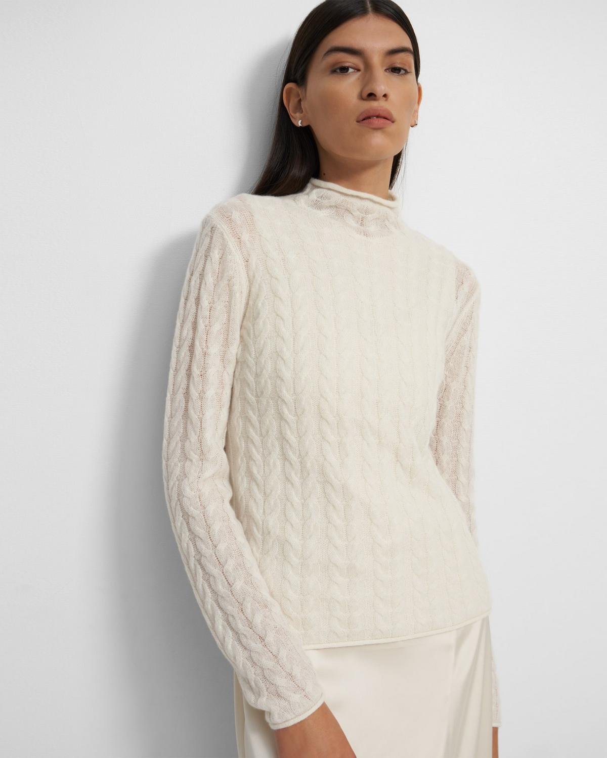Roll Neck Sweater in Cable Knit Cashmere 0 - click to view larger image