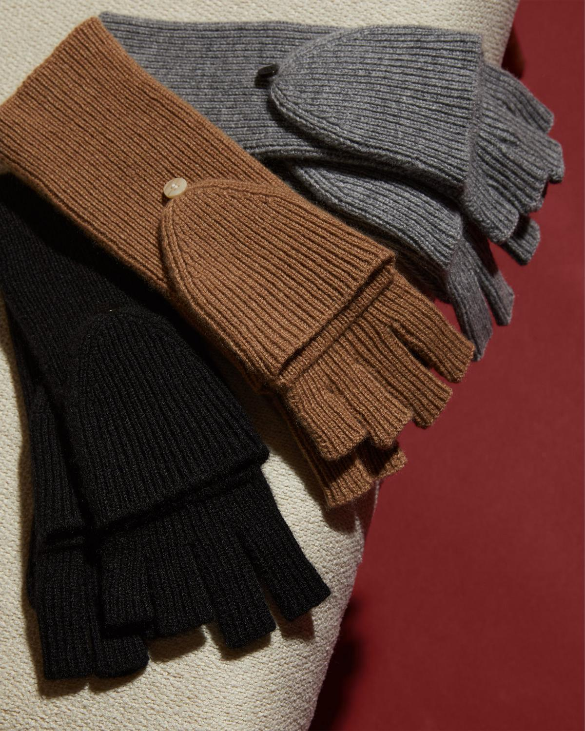 Fold-Back Gloves in Ribbed Cashmere