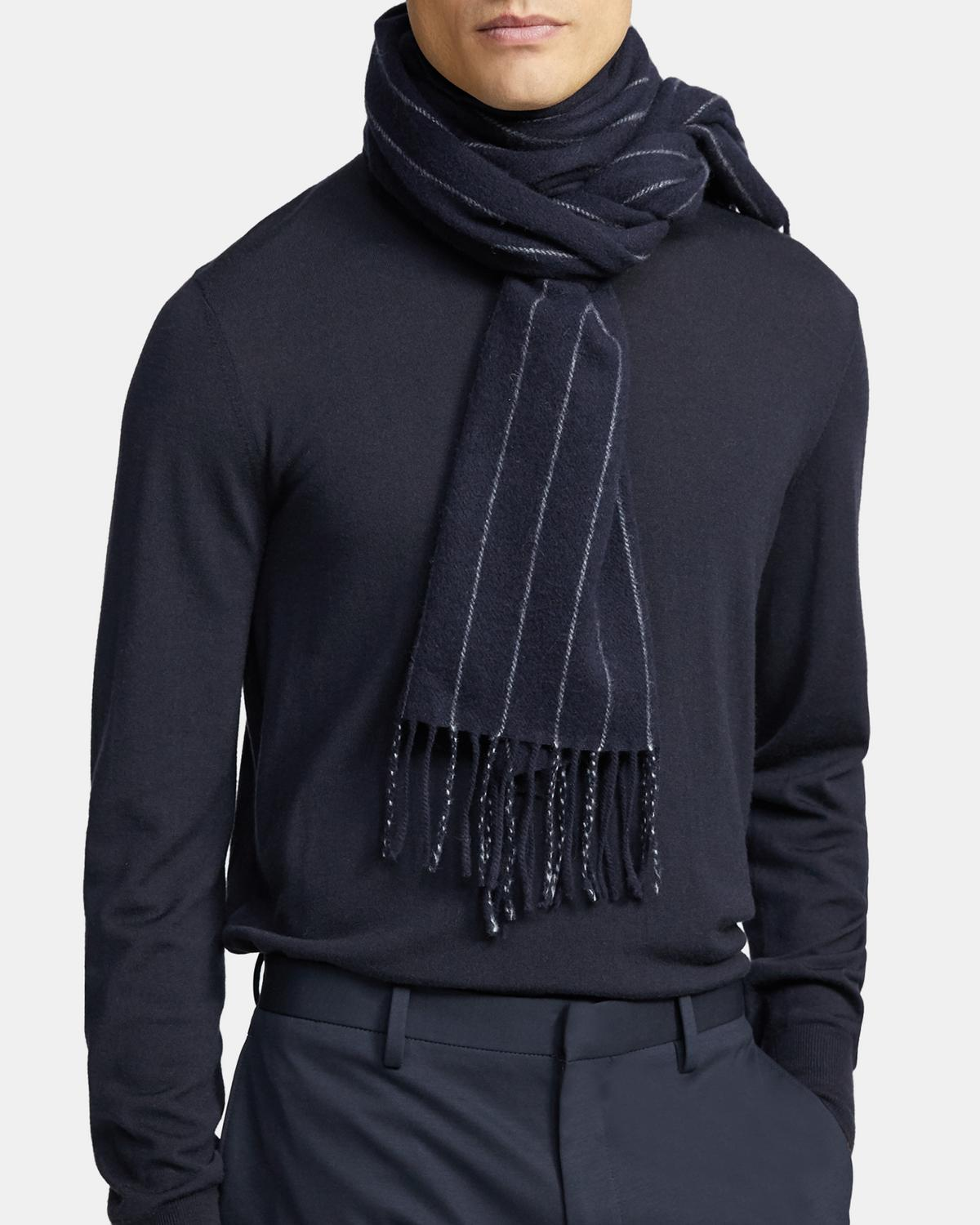 Fringe Scarf in Pinstripe Wool-Cashmere