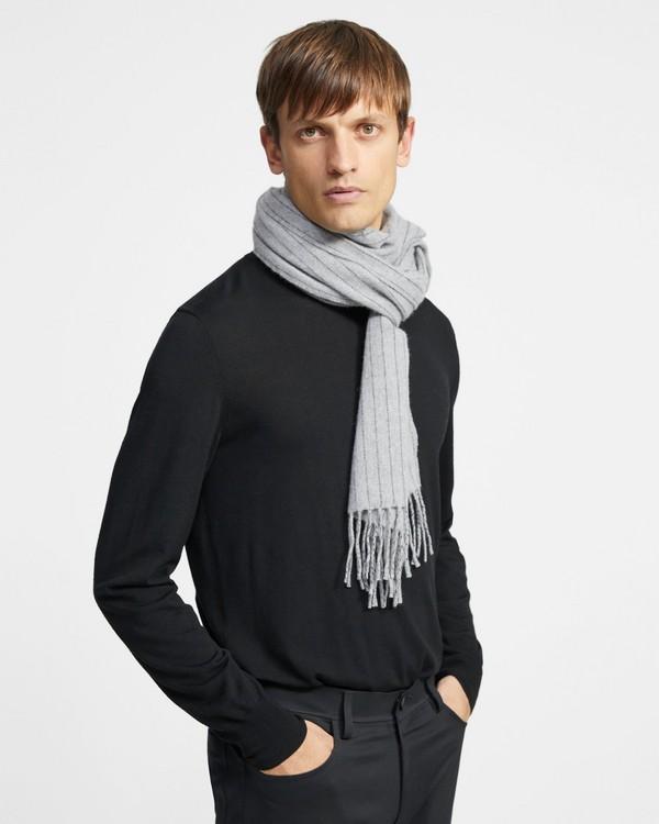 띠어리 맨 캐시미어 머플러 Theory Fringe Scarf in Pinstripe Wool-Cashmere,GREY MELANGE MULTI