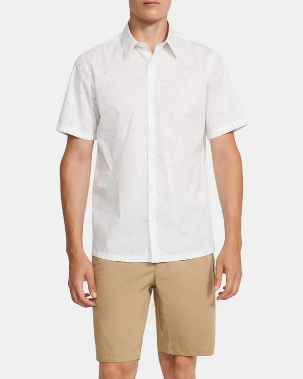 띠어리 맨 어빙 반팔 셔츠 Theory Irving Short-Sleeve Shirt in Printed Stretch Cotton,FROST MULTI