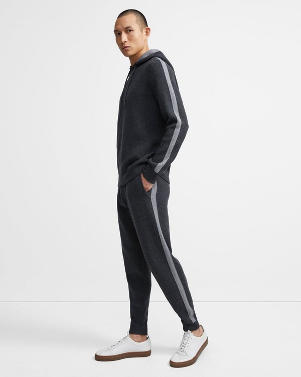 띠어리 맨 조거 팬츠 Theory Jogger in Striped Wool-Cashmere