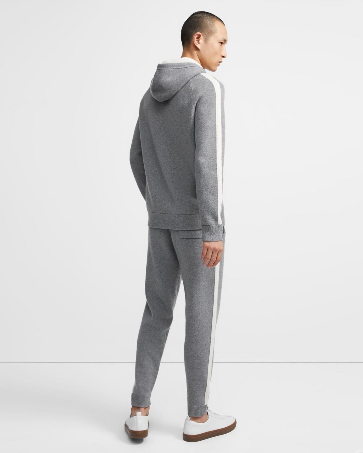 Lounge Hoodie in Striped Wool-Cashmere