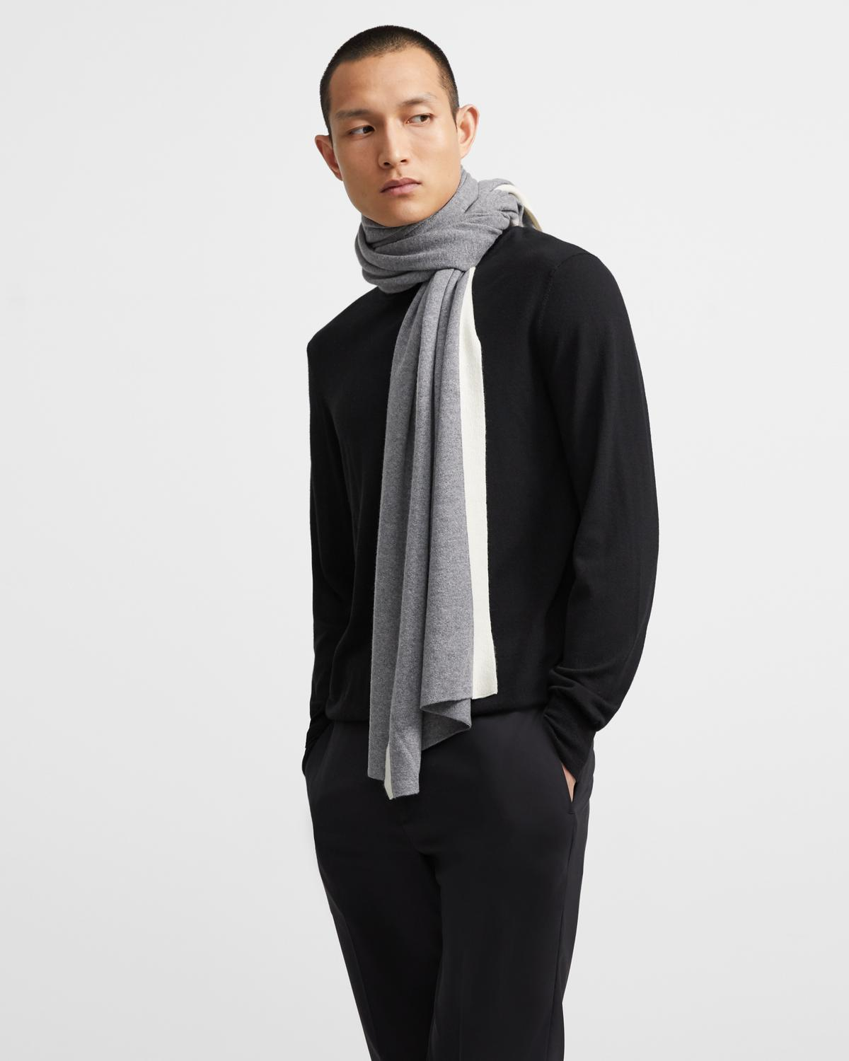 Lounge Scarf in Striped Wool-Cashmere