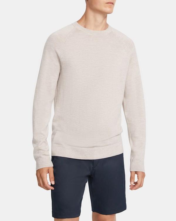띠어리 맨 메리노 울 스웨터 Theory Crewneck Sweater in Merino Wool,TAUPE MARL