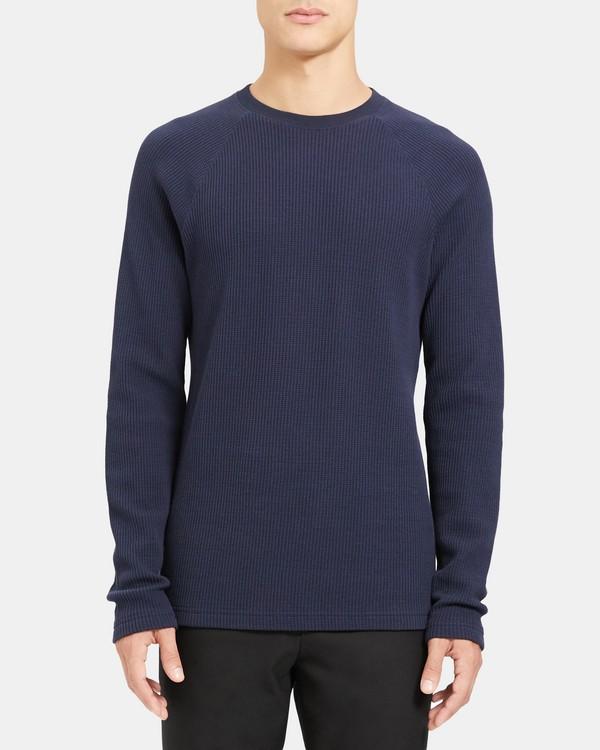 띠어리 맨 스웨터 Theory Crewneck Sweater in Waffle Knit Organic Cotton,ECLIPSE