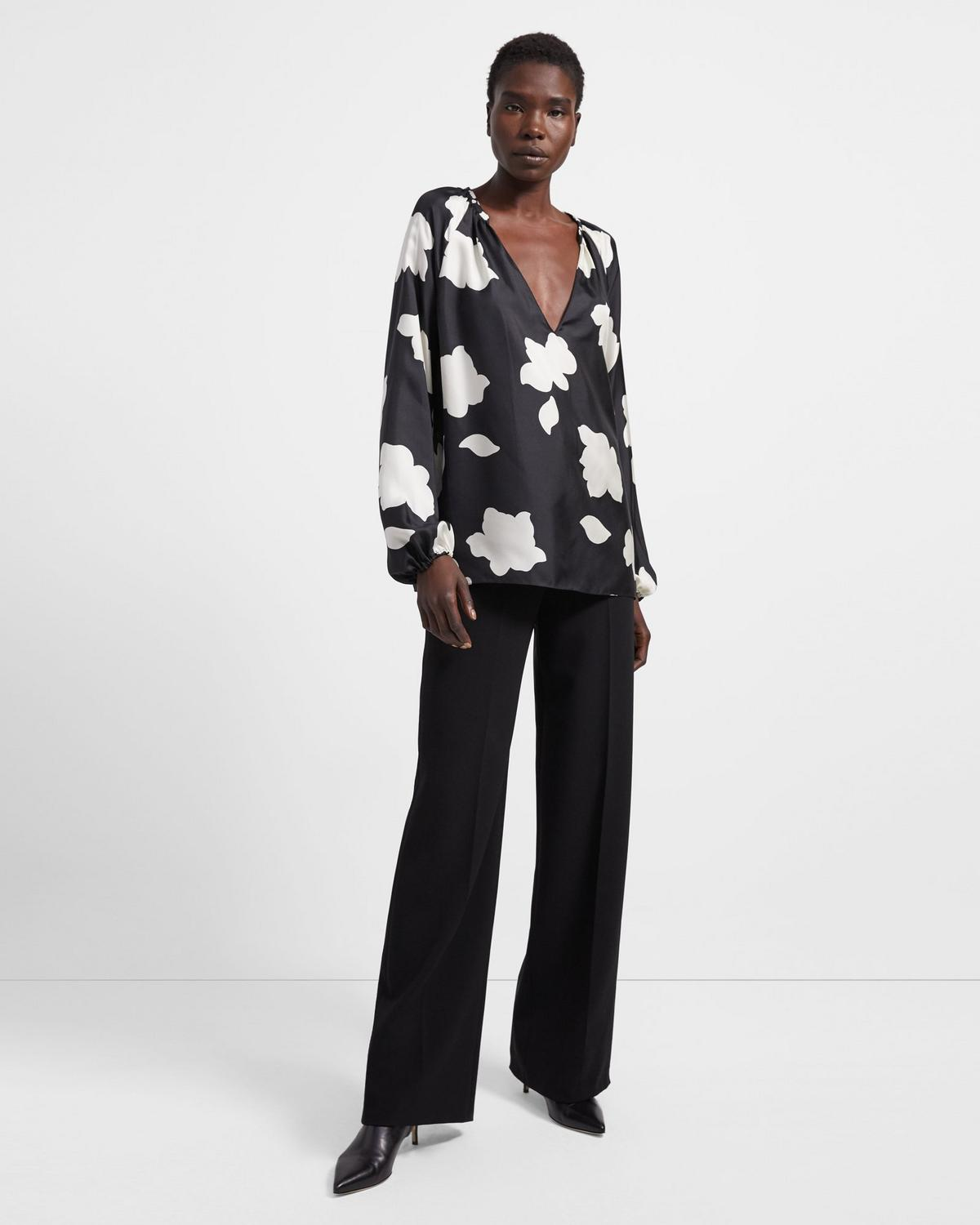 Open V-Neck Top in Petal Print Silk