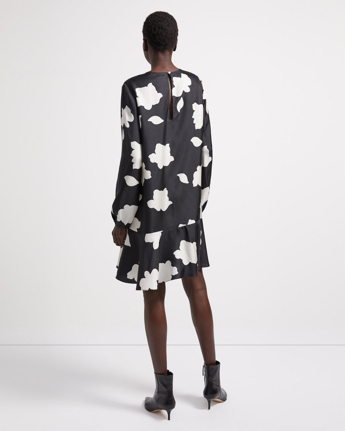 Flared Dress in Petal Print Silk