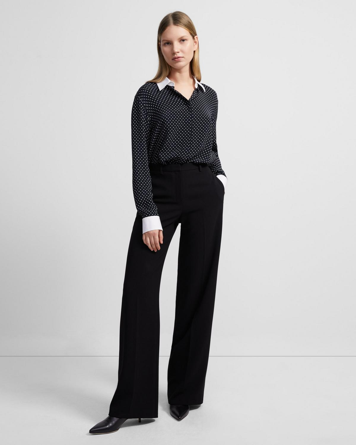 Contrast Straight Shirt in Polka Dot Crepe