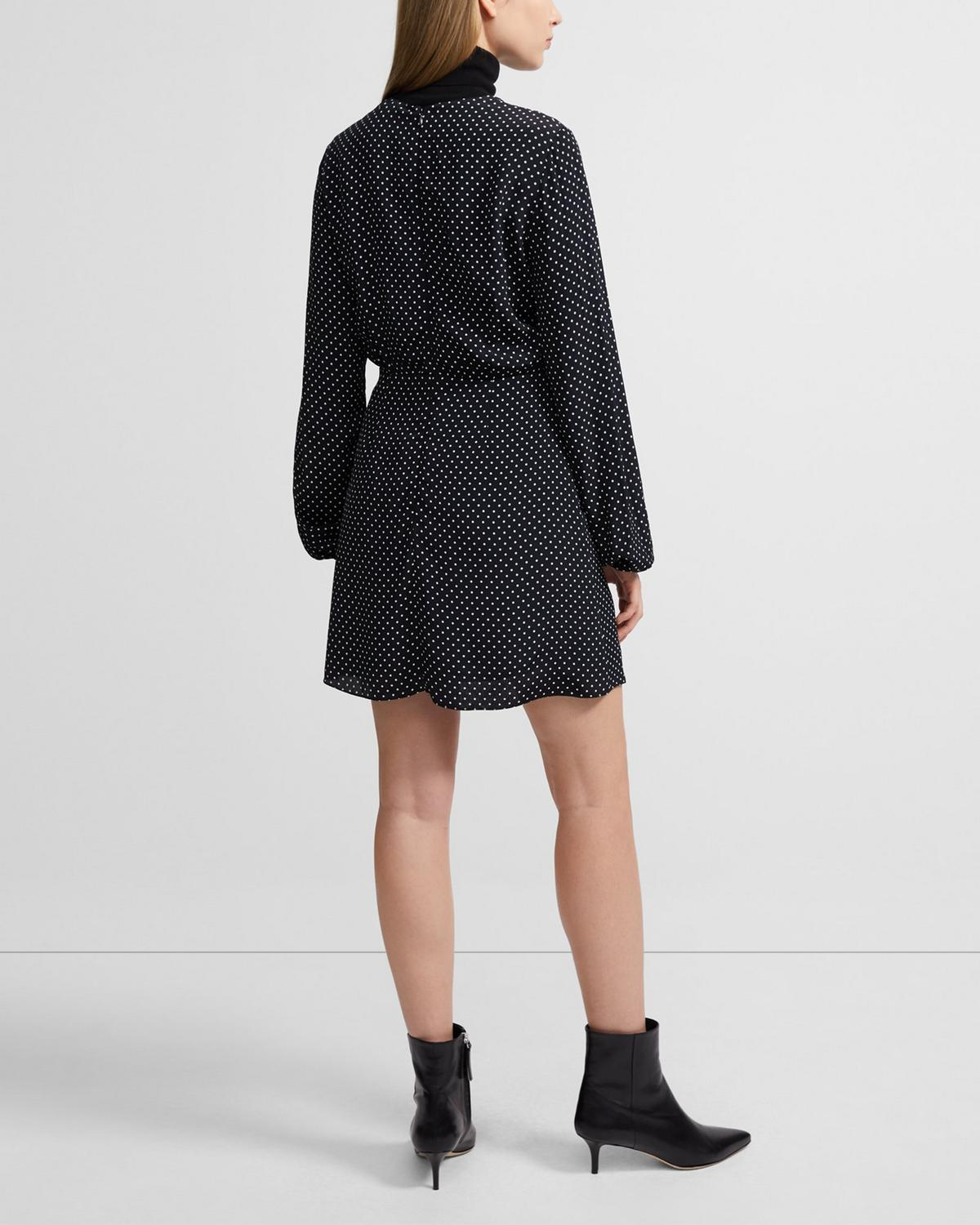 Crewneck Dress in Polka Dot Crepe