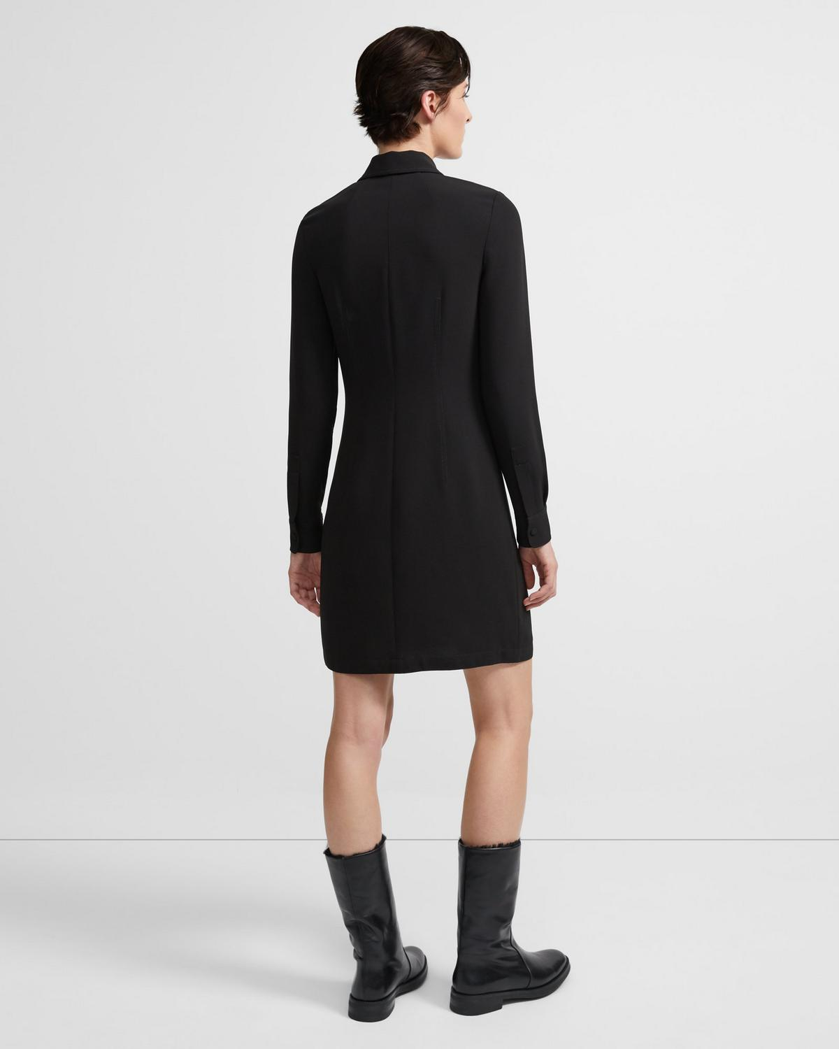 Zip Shirtdress in Crepe
