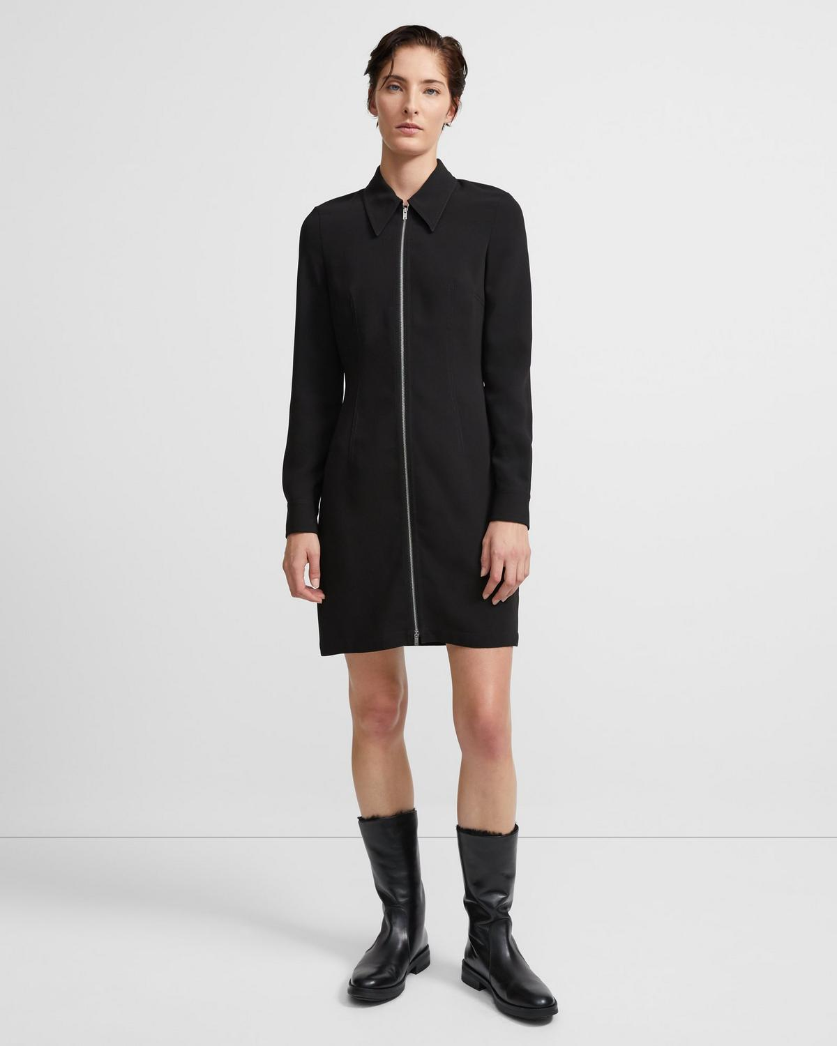 Zip Shirt Dress in Crepe
