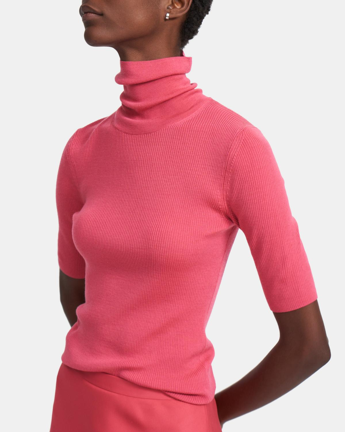 Short-Sleeve Turtleneck Sweater in Regal Wool