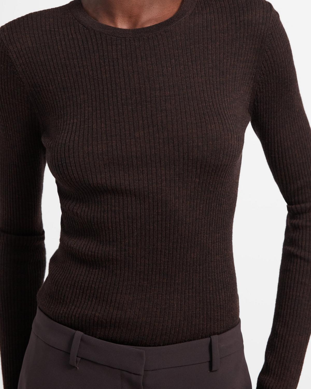 Crewneck Sweater In Ribbed Regal Wool