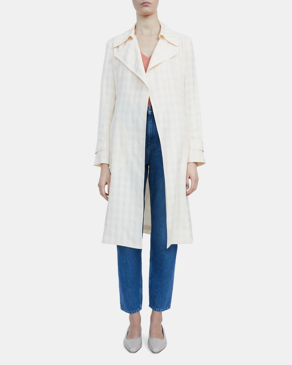 Oaklane Trench Coat in Check Cupro