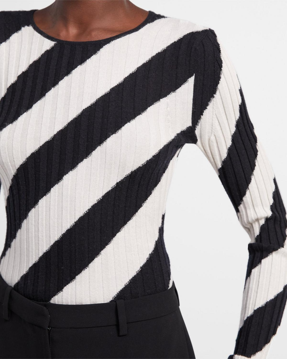 Crewneck Sweater in Striped Silk Intarsia