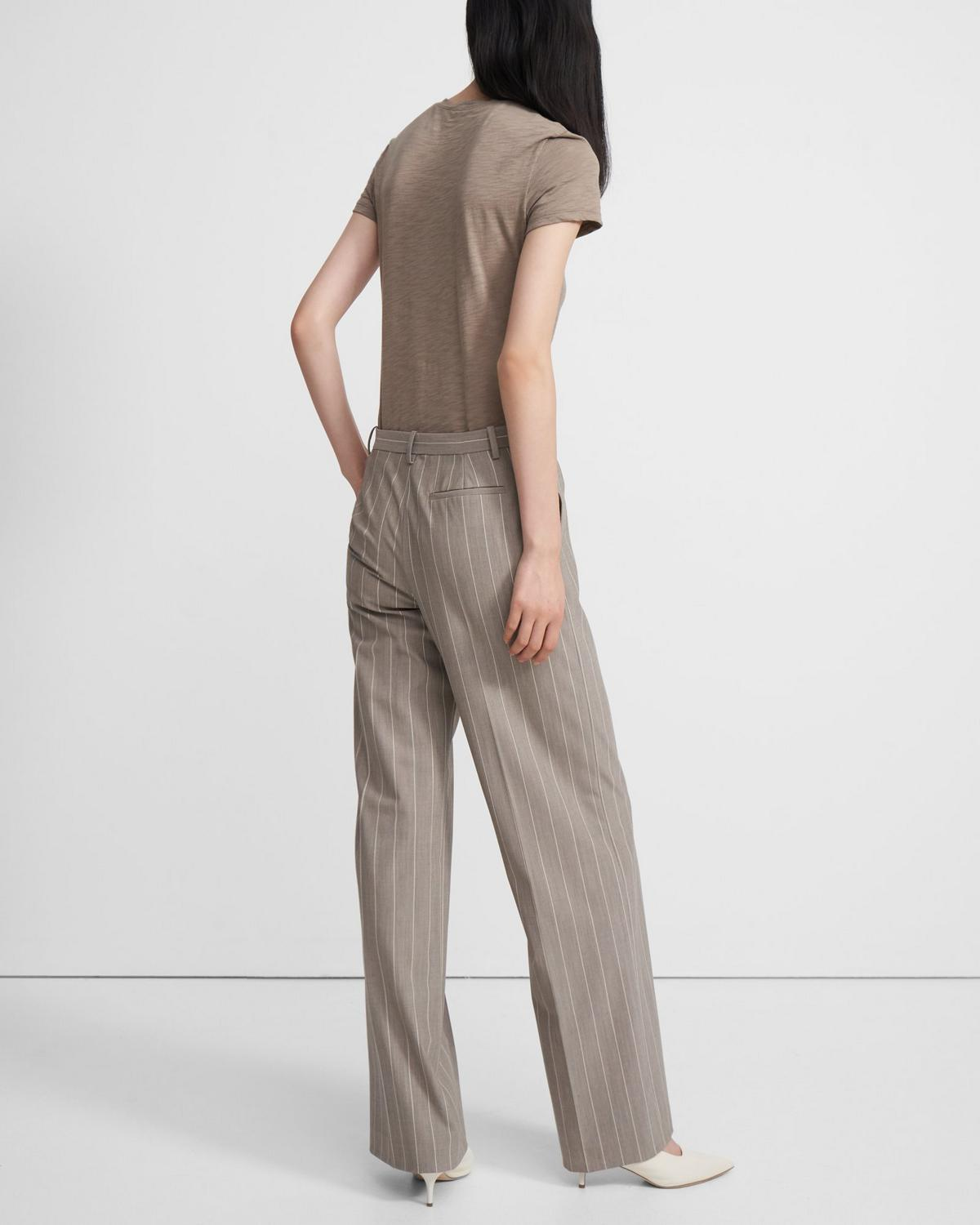 Wide Trouser in Striped Good Wool