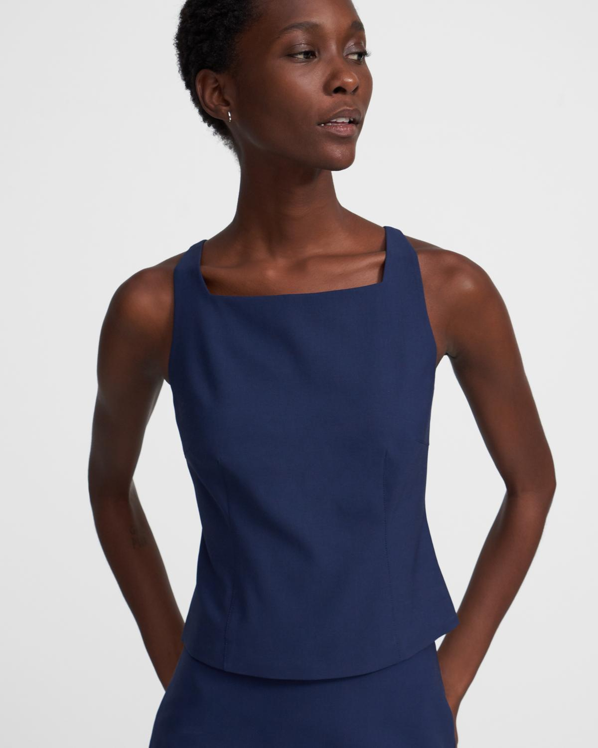 Square Neck Shell Top in Good Wool