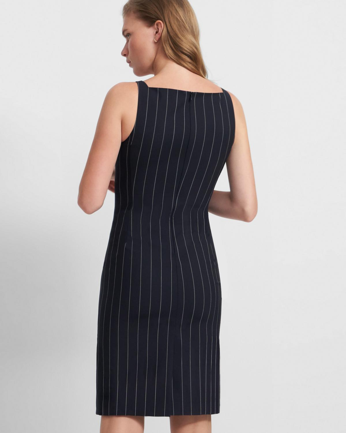 Square Neck Dress in Striped Good Wool