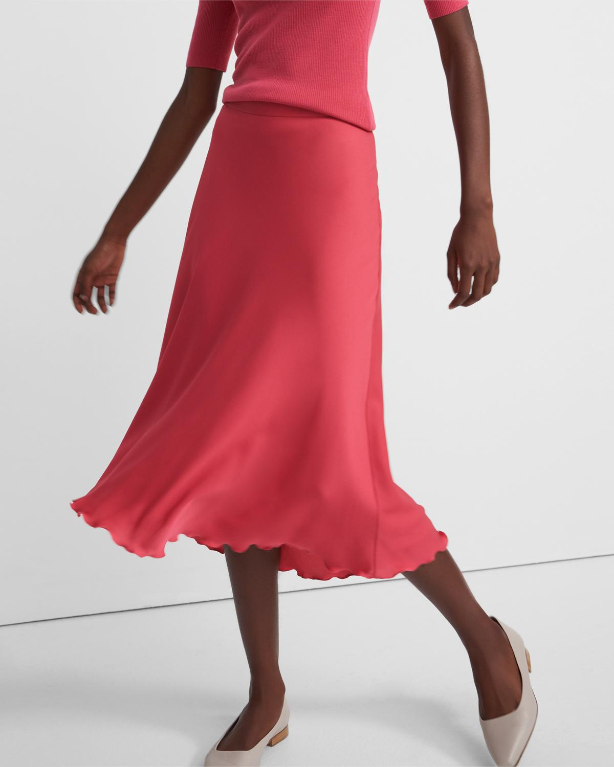 Ruffled Slip Skirt in Stretch Silk