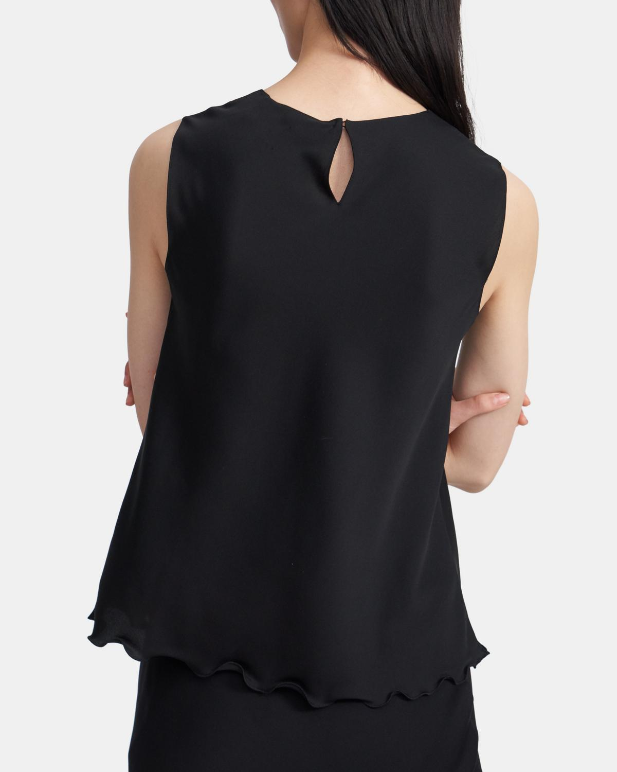 Ruffled Shell Top in Stretch Silk