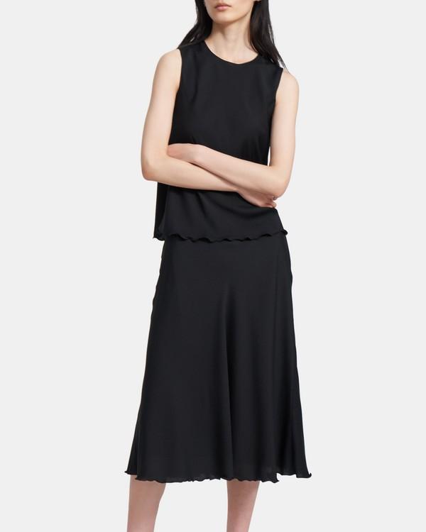 띠어리 실크 러플 민소매 탑 - 블랙 Theory Ruffled Shell Top in Stretch Silk K0102501