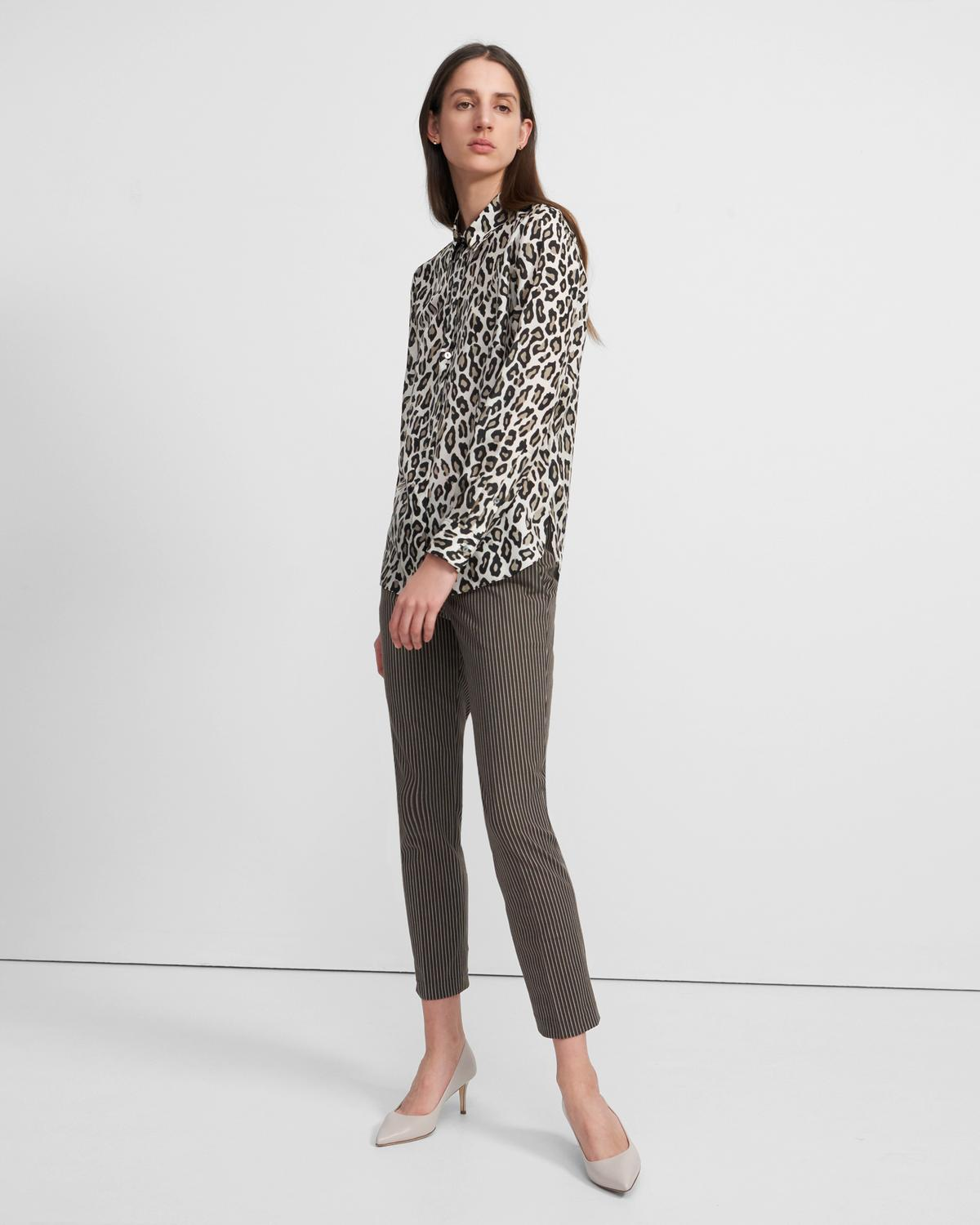 Straight Shirt in Leopard Print Silk