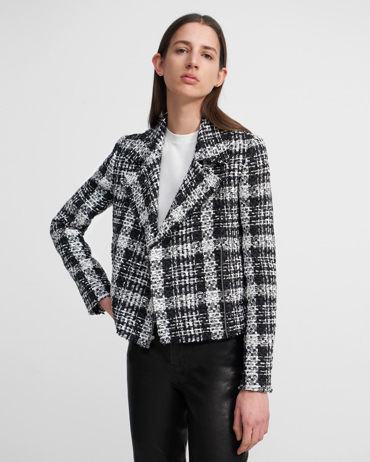 Slim Moto Jacket in Rubber Tweed