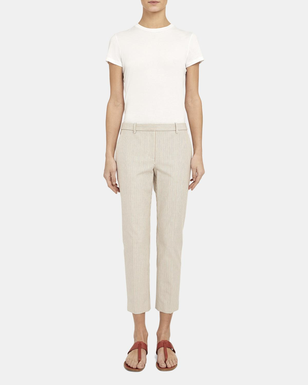 Treeca Pant in Striped Stretch Cotton 0 - click to view larger image