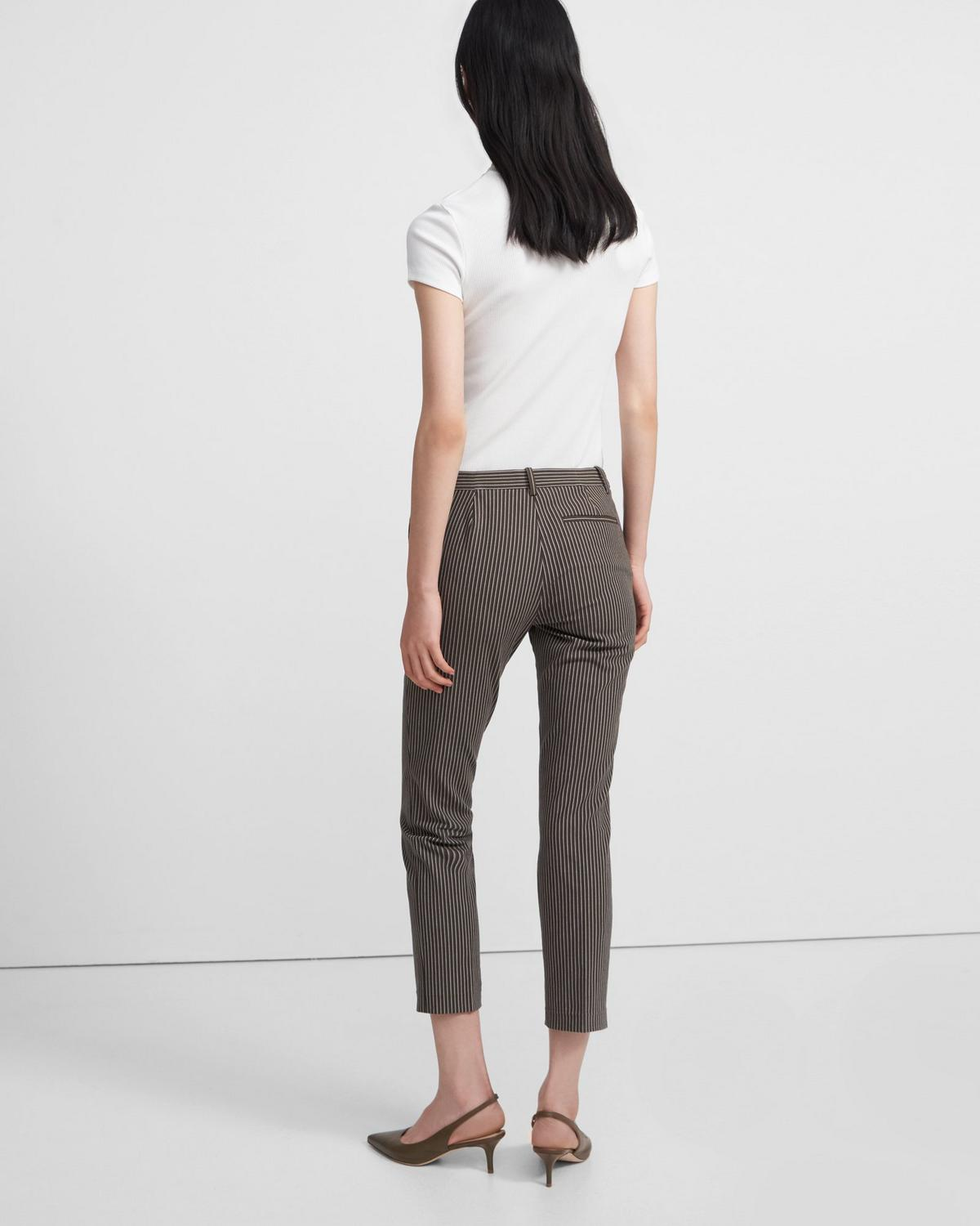 Treeca Pant in Striped Stretch Cotton