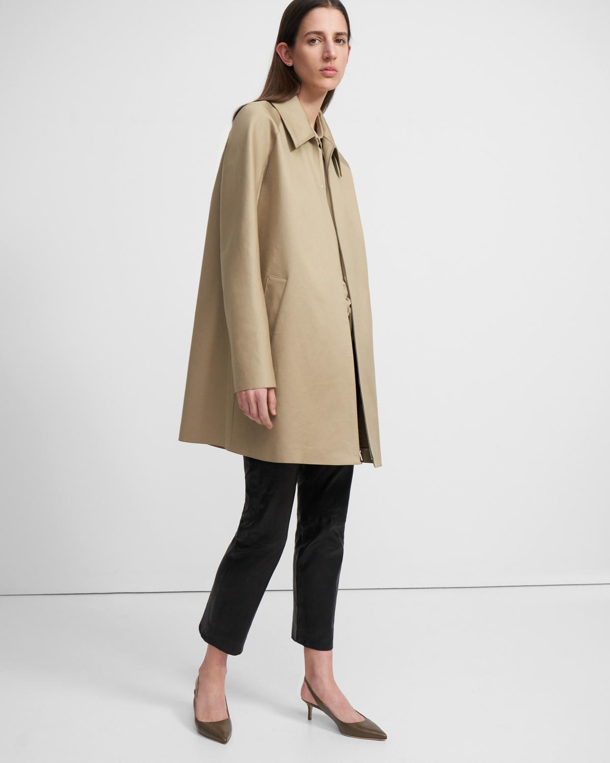 Caban Coat in Double Cotton