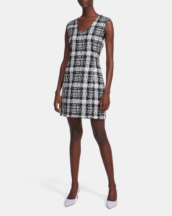 띠어리 트위드 스컬프드 원피스 Theory Sculpt Dress in Rubber Tweed,BLACK MULTI