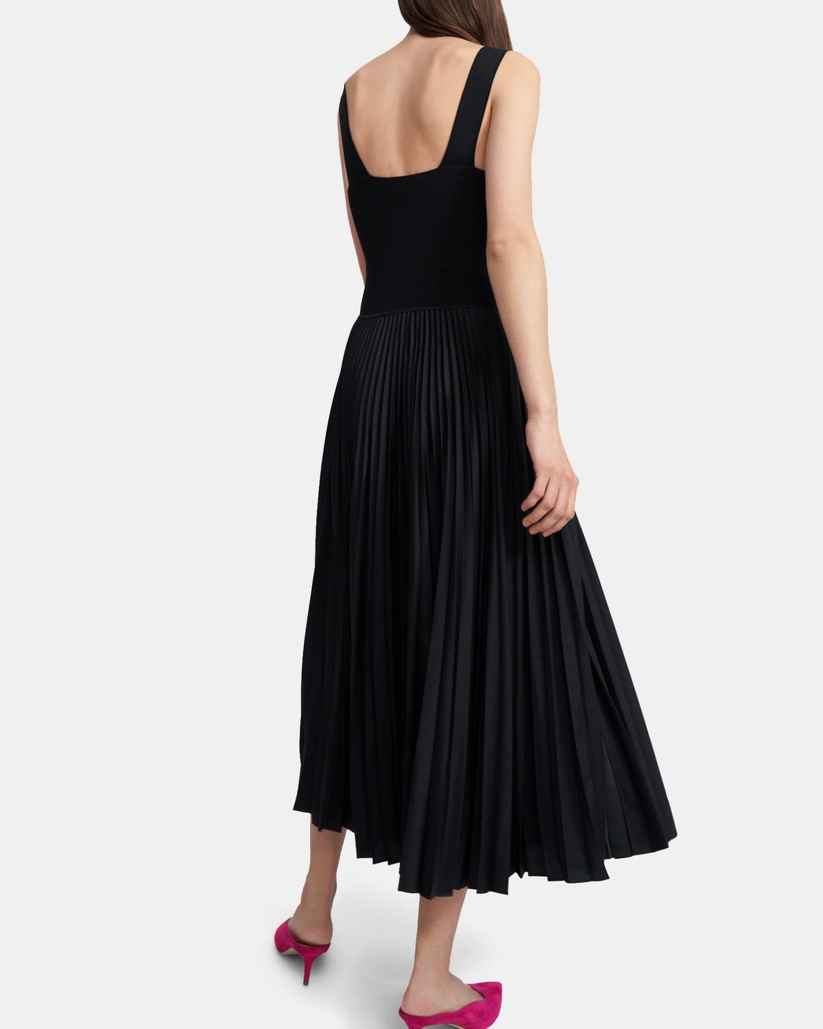 Pleated Square Neck Dress in Poly Combo