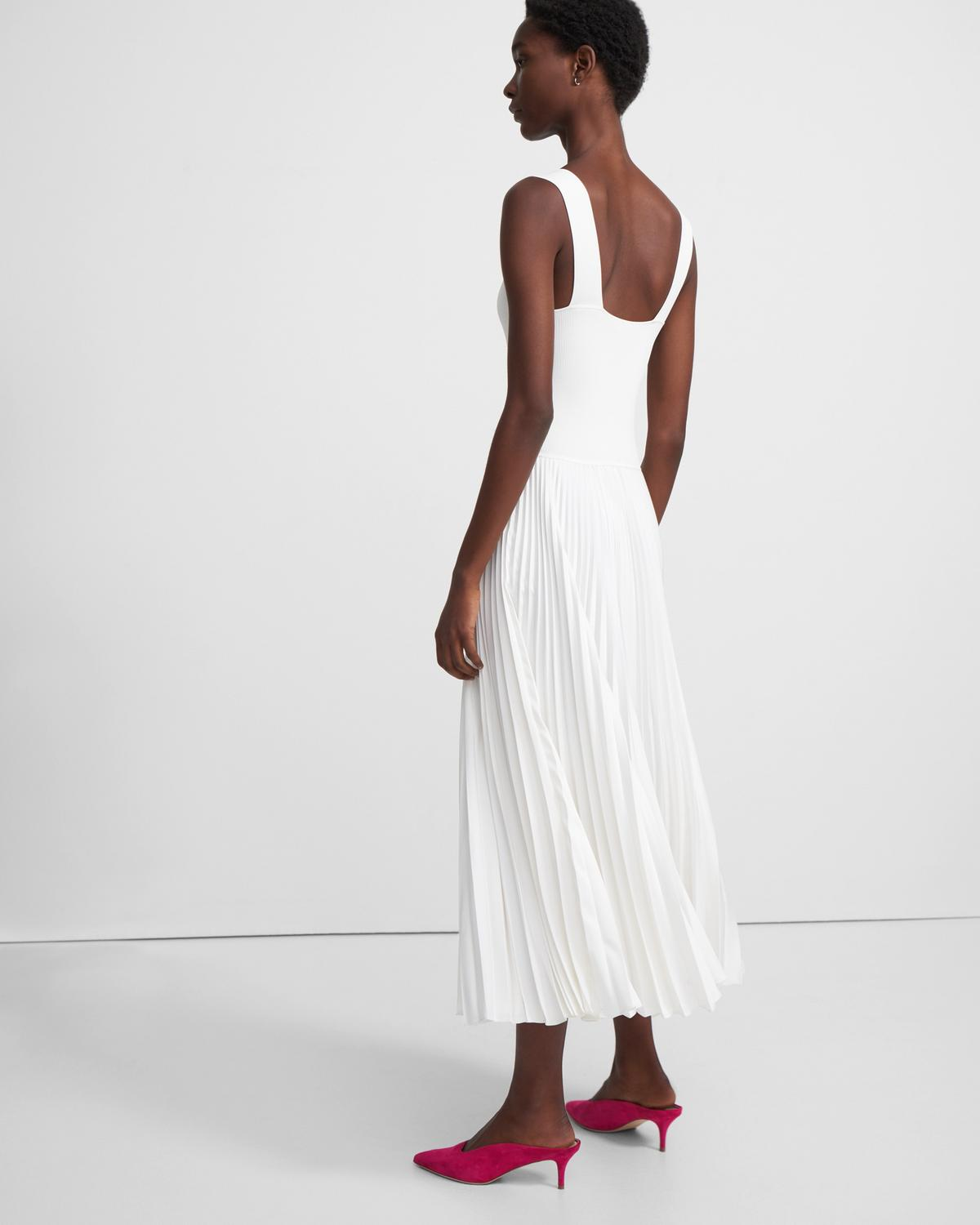 Pleated Square Neck Dress in Crepe