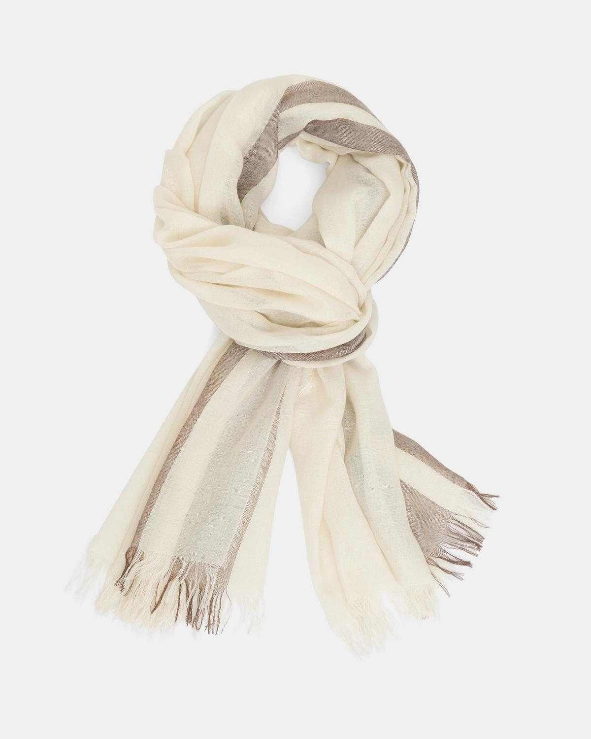 Oversized Fringe Scarf in Striped Viscose-Wool Blend