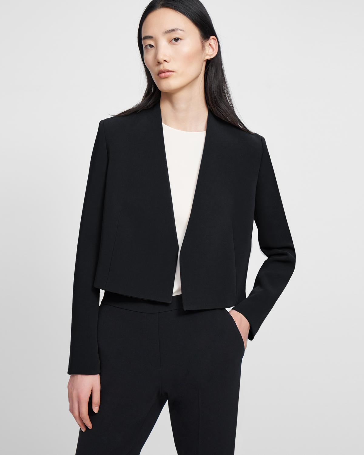 Collarless Blazer in Double Crepe